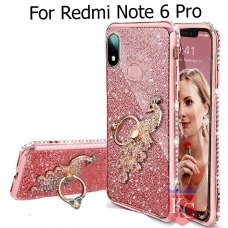 Cute More Glitter Peacock Ring Ring Diamond Stand Case Sparkly Transparent Silicon Designer Back Covers for Mi Redmi Note 6 Pro - Rose Gold